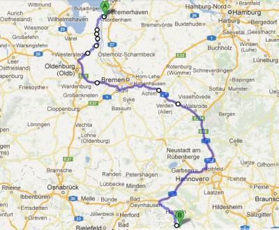 Route MOX-Transport Sellafield-Nordenham-Grohnde September 2012
